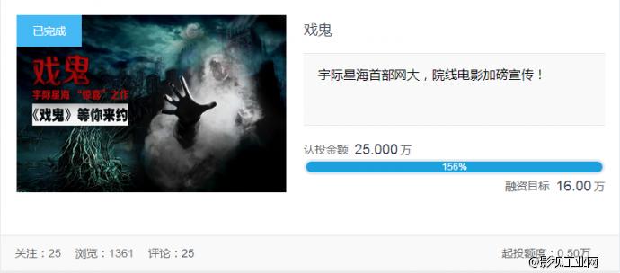 宇际星海首部网大,院线电影加磅宣传!《戏鬼》在影大人平台成功众筹!