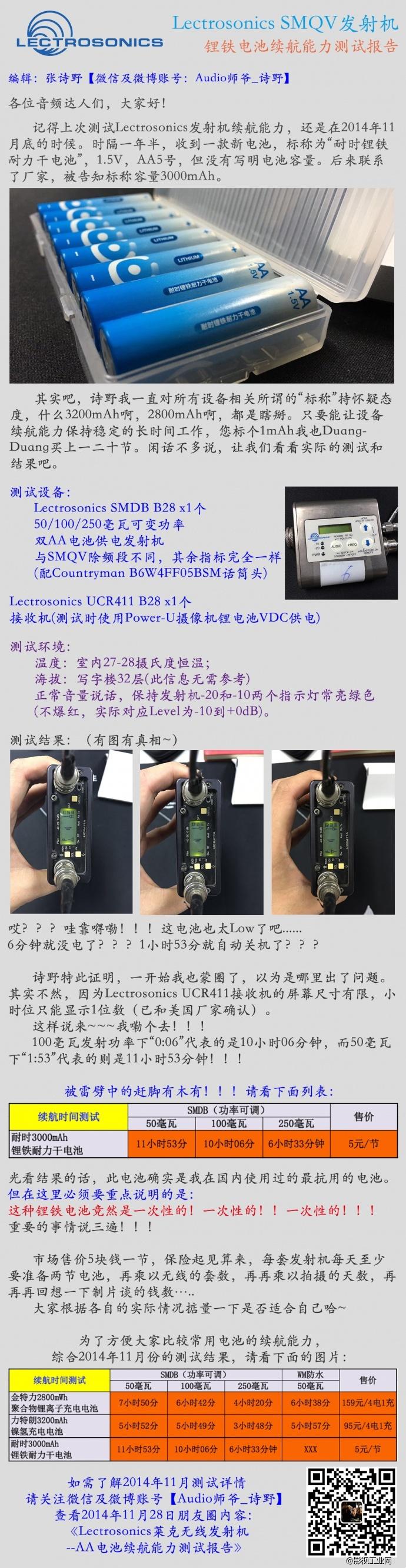 Lectrosonics SMQV发射机航能力测试报告 by Audio诗野