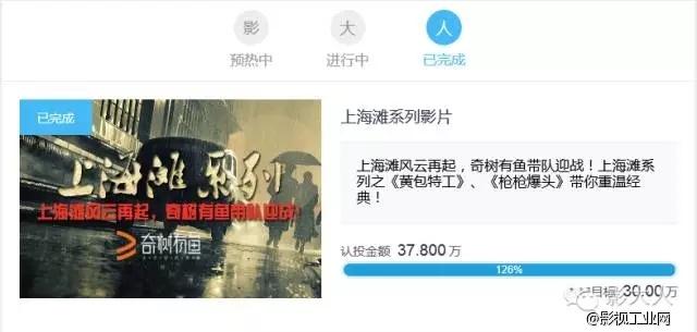 影大人助力《上海滩系列》网络大电影众筹成功!