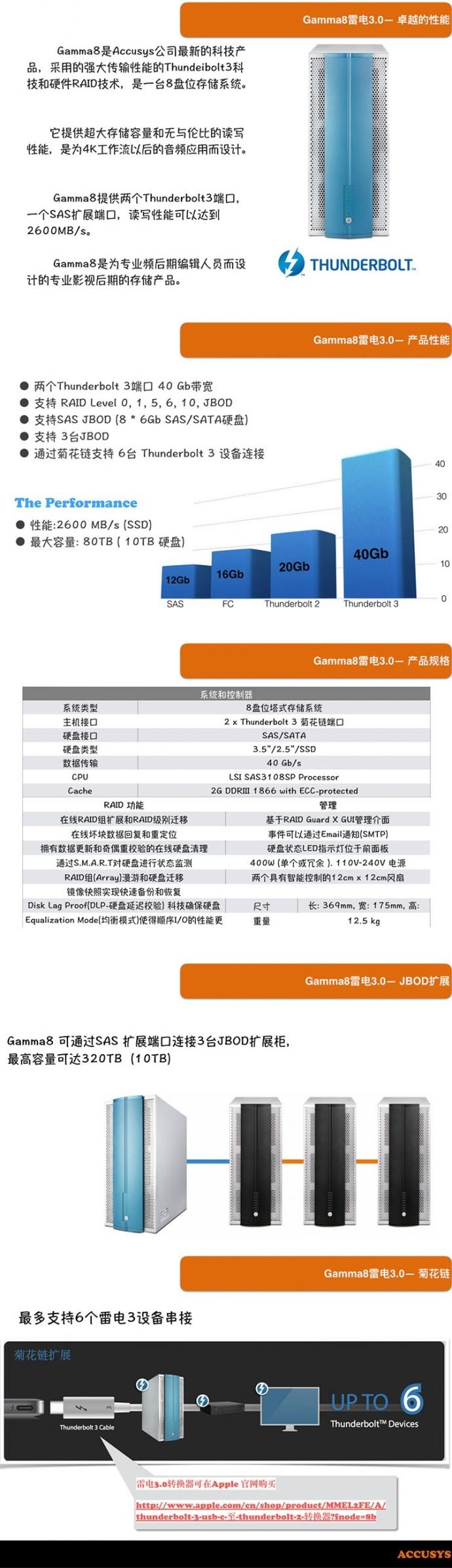 4K存储,【乐呈】Gamma8 雷电3 直连静音存储系统 3年质保
