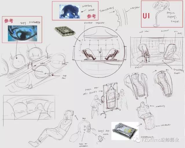 广场椅手绘设计图