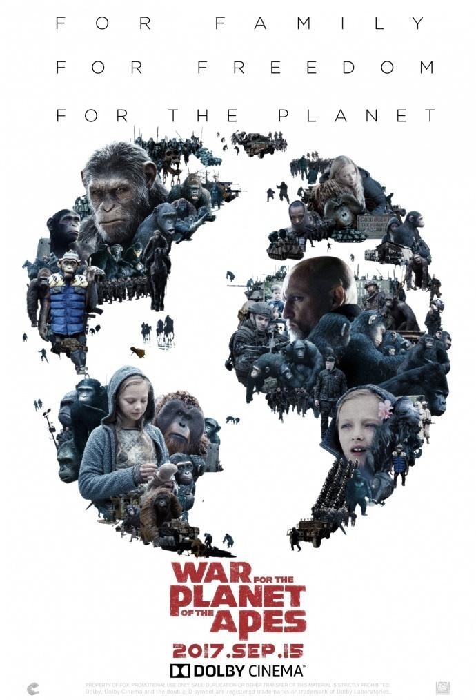 《猩球崛起3:终极之战》公布杜比影院版海报 专属海报揭秘影片看点
