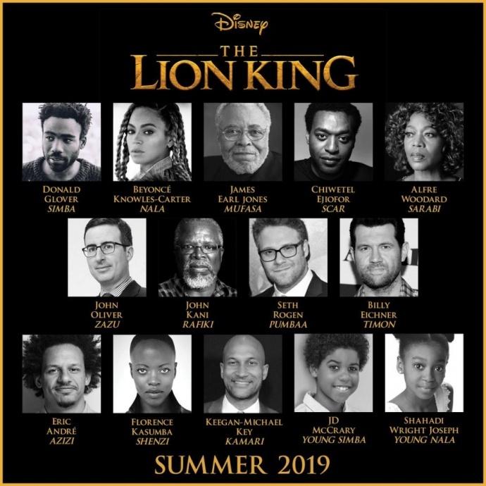 豪华阵容!碧昂丝出演真人版《狮子王》,影片将在19年夏季上映