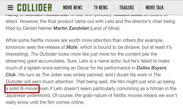 Netflix黑帮电影《局外人》发布首支预告,莱托新作风格暗黑血腥暴力